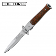 Canivete stiletto Tac Force by Master Cutlery abertura assistida tala em madeira TF-428W