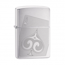ISQUEIRO ZIPPO ACE OF SPADES BRUSHED CHROME